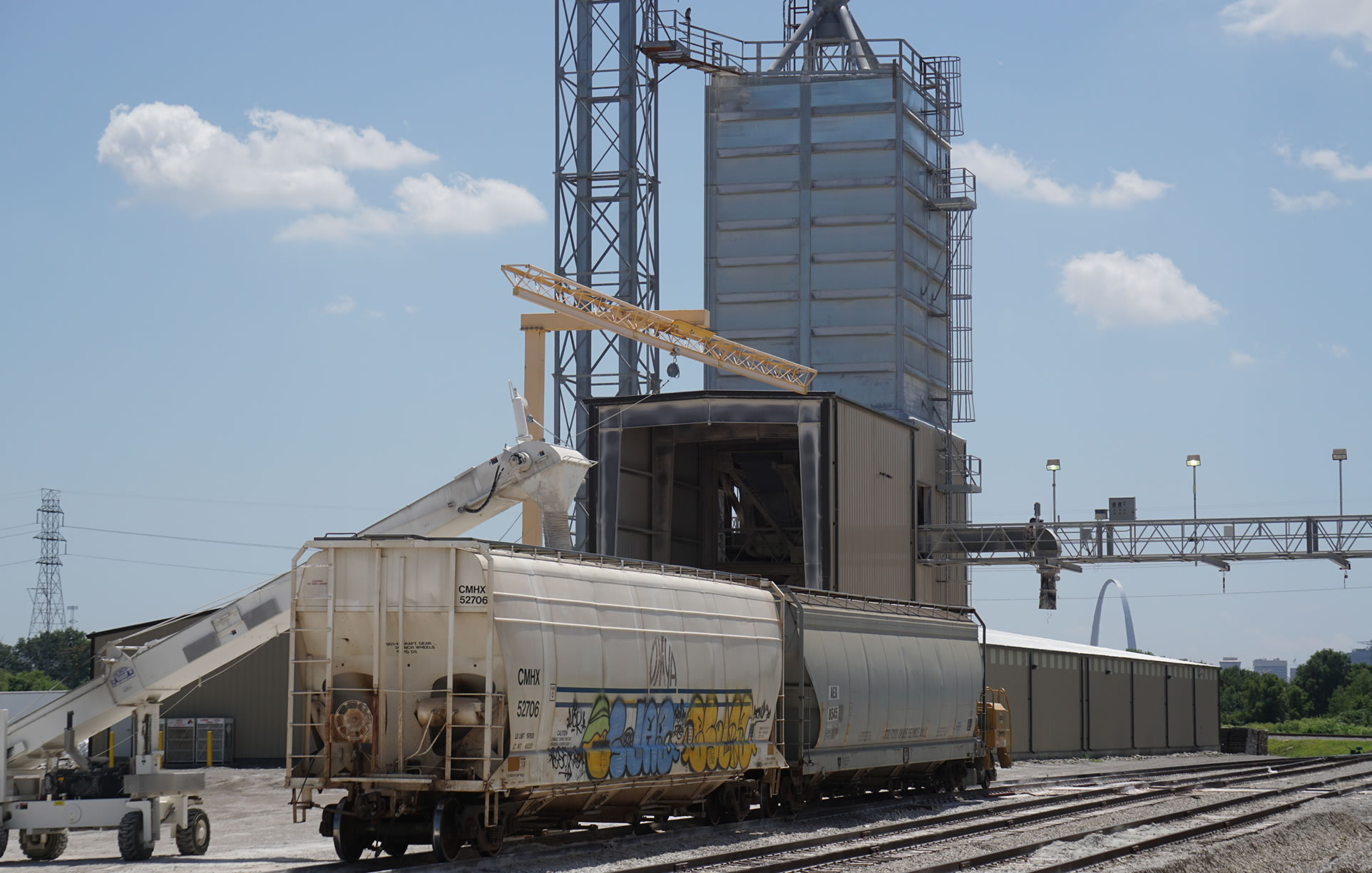 Rail cars ready to receive a load of feed grade phosphate